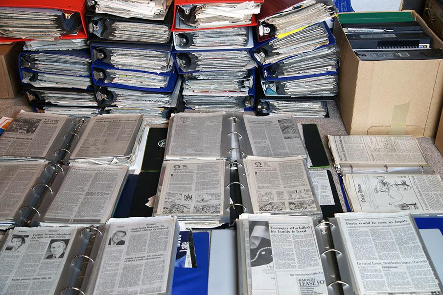 Newspaper clippings Maier collected and organized in binders