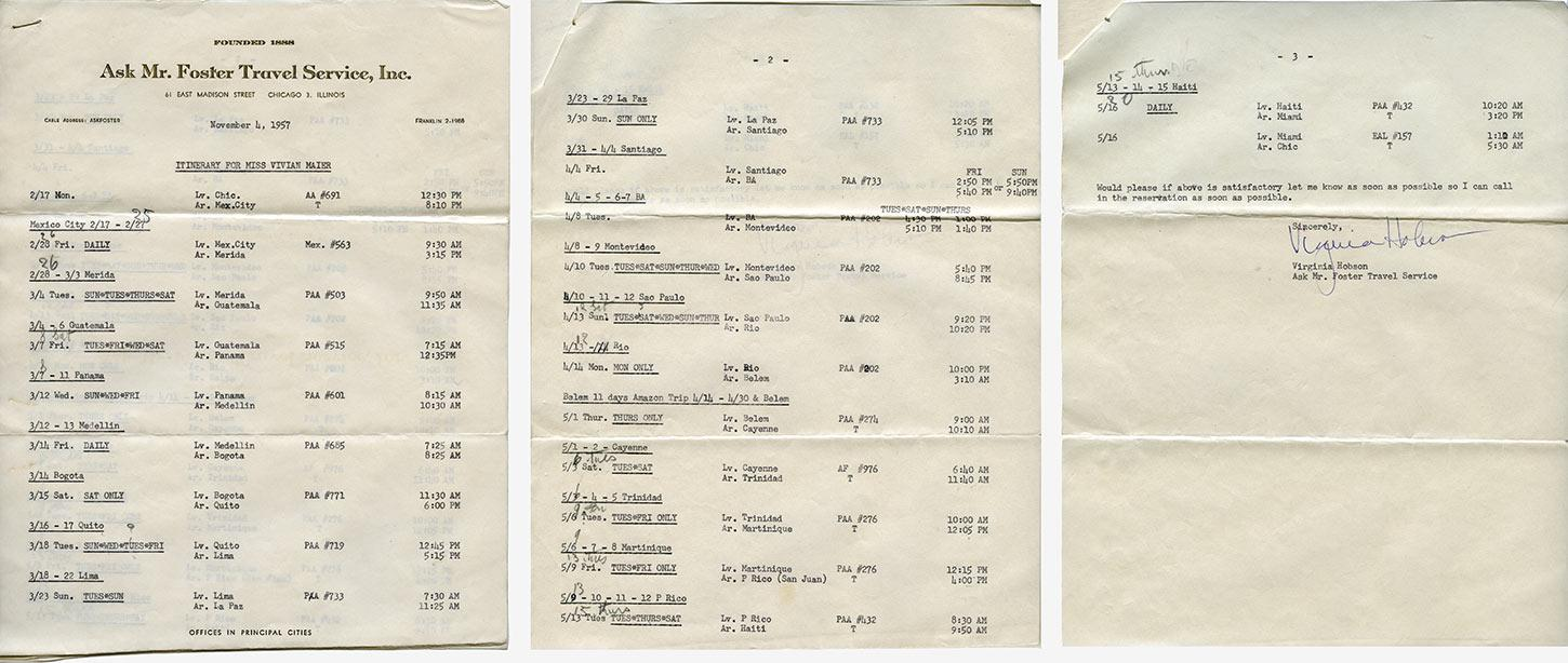 Vivian Maier's travel itinerary from 1957