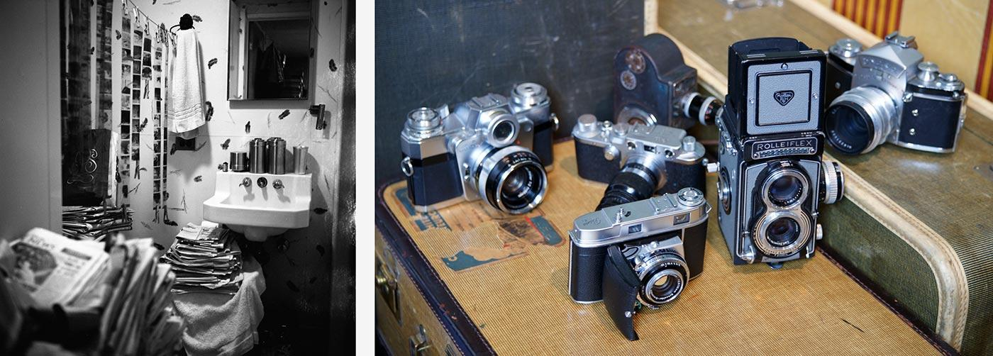 Left: Vivian Maier's bathroom doubled as a darkroom. Right: Some of Vivian Maier's various cameras